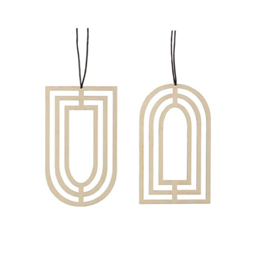 hubsch hübsch interior christmas kerst ornament wood hout geometric geometrisch set of 2 set van 2