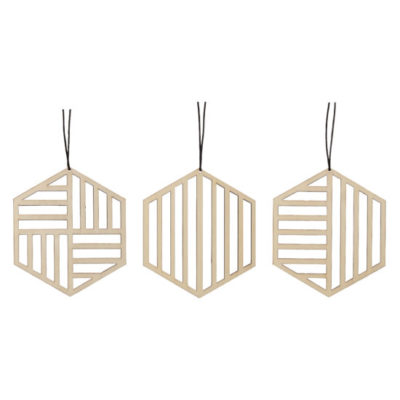 hubsch hübsch interior christmas kerst ornament wood hout geometric geometrisch set of 3 set van 3