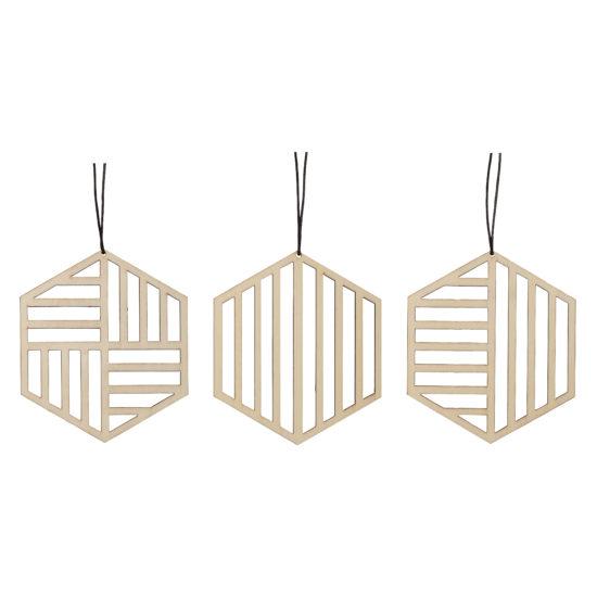 hubsch hübsch interior christmas kerst ornament wood hout geometric geometrisch set of 3 set van 3