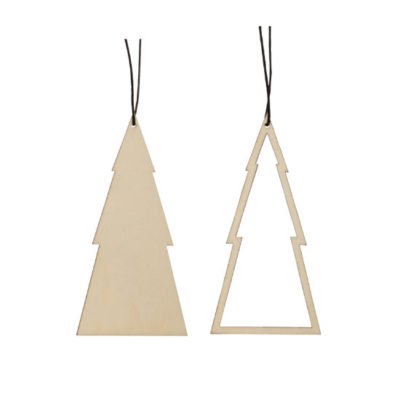 hubsch hübsch interior christmas kerst ornament wood hout tree boom nature set of 2 set van 2