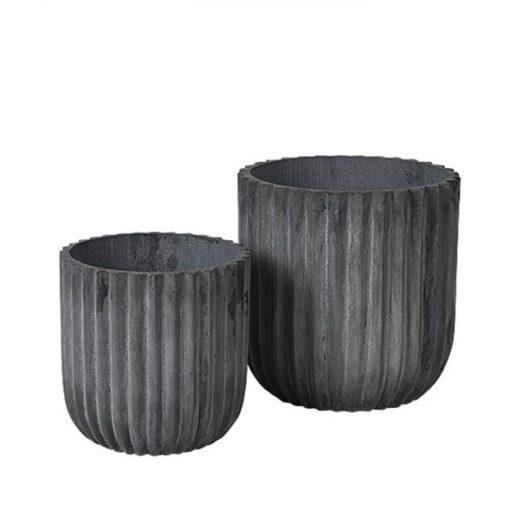 broste copenhagen rustik lys plant pot bloempot fiber clay set of 2 set van 2 grey grijs