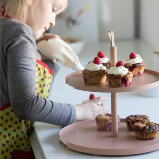 etagere cake stand tortenstand 2 level roze blush nude keukenaccessoires design bite