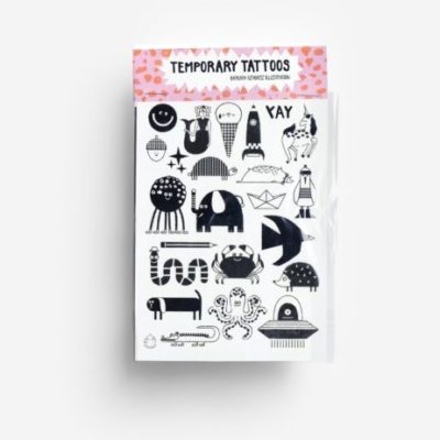 temporary tattoos characters zwart wit black white kids toys accessories jungwiealt tykky gift idea cadeau idee