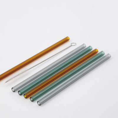 glass straws incl cleaner vaca green grey orange house doctor society of lifestyle glazen rietjes met borstel tykky