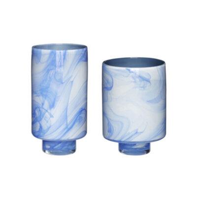 vaas glas wit blauw hübsch hubsch interior vase glass white blue vase glas weiss blauw