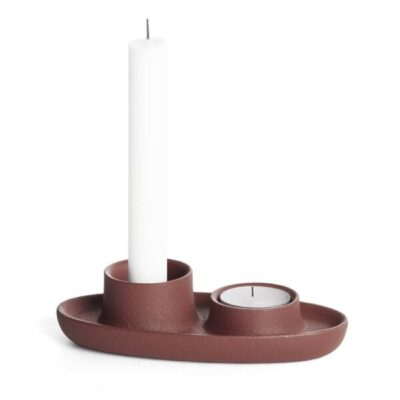 aye aye emko double candle holder kandelaar wine red bordeaux rood tykky