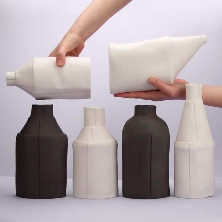 saara kaatra porcelain uniek design bottle fles vaas vases tykky handmade design
