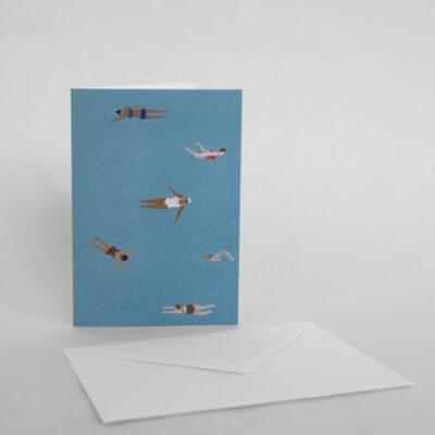 kaart gevouwen a6 swimmers fine little day tykky stationary producten papierwaren karten