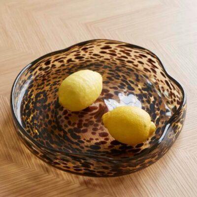 tray round glass yellow brown schaal glas geelbruin tykky hubsch interior woonaccessoires
